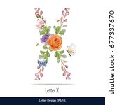 floral watercolor alphabet.... | Shutterstock .eps vector #677337670