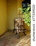 Small photo of Sienna, Italy – JULY 10, 2017 – Certosa Pontignano, Cloister inside the Carthusian, winepress