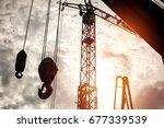 silhouette hook a crane old...   Shutterstock . vector #677339539