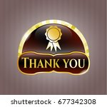 gold badge with ribbon icon... | Shutterstock .eps vector #677342308