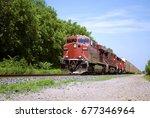 red freight train   Shutterstock . vector #677346964