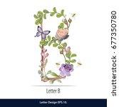 floral watercolor alphabet.... | Shutterstock .eps vector #677350780