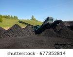 excavator  digging coal ... | Shutterstock . vector #677352814