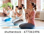 fitness  yoga and healthy... | Shutterstock . vector #677361496