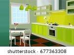kitchen interior background... | Shutterstock .eps vector #677363308