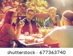 leisure  holidays  eating ... | Shutterstock . vector #677363740