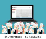 laptop with email and many... | Shutterstock .eps vector #677366368