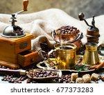 coffee in the oriental style...   Shutterstock . vector #677373283