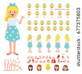 front  side  back view animated ... | Shutterstock .eps vector #677375803