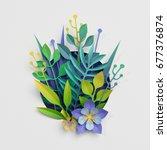 3d render  paper cut decor ... | Shutterstock . vector #677376874