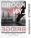 photo print brooklyn bridge...   Shutterstock . vector #677381020