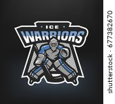 hockey goalkeeper. logo  emblem ... | Shutterstock .eps vector #677382670