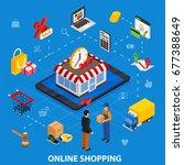 online shopping isometric... | Shutterstock .eps vector #677388649