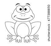 colorless funny cartoon frog.... | Shutterstock .eps vector #677388850