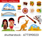travel to australia. australian ... | Shutterstock .eps vector #677390023
