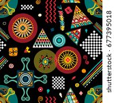vector seamless ethnic pattern. ... | Shutterstock .eps vector #677395018