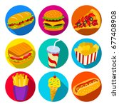 set of fast food icons. vector... | Shutterstock .eps vector #677408908