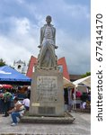 Small photo of GUATEMALA, COBAN ALTA VERAPAZ – July 30, 2011: Monument to Manuel Tot, Mayan q'eqchi ', born May 3, 1779, carved by Rodolfo Galeotti Torres, central park of Coban Alta Verapaz. EDITORIAL.