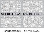 set of 4 abstract trendy celtic ... | Shutterstock .eps vector #677414623