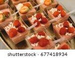 red raspberries  dezert on...   Shutterstock . vector #677418934