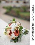 wedding bouquet from orange and ...   Shutterstock . vector #677423668