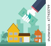buying house. picture of a...   Shutterstock .eps vector #677433799