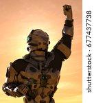 galatic astronaut in mars 3d... | Shutterstock . vector #677437738
