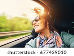 woman feels free and looks out... | Shutterstock . vector #677439010