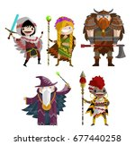 rogue warrior  elf ranger girl  ... | Shutterstock .eps vector #677440258
