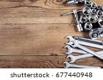tools kit on wooden table | Shutterstock . vector #677440948
