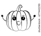 fresh pumpkin vegetable kawaii... | Shutterstock .eps vector #677442250