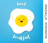 cartoon fried egg raises hands... | Shutterstock .eps vector #677442460