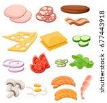 burgers set. ingredients  buns  ... | Shutterstock .eps vector #677443918