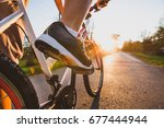 cycling outdoors  close up of... | Shutterstock . vector #677444944