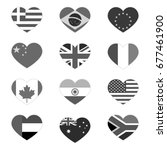 heart flags  gray isolated on...   Shutterstock .eps vector #677461900