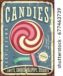 lollipop retro vector sign... | Shutterstock .eps vector #677463739