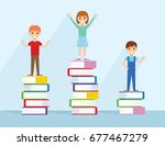 children standing on stack of... | Shutterstock .eps vector #677467279
