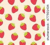 cute strawberry seamless... | Shutterstock .eps vector #677501434