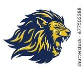 Stock vector wild lion head mascot 677502388