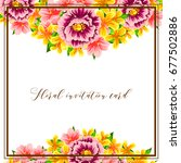 invitation with floral... | Shutterstock .eps vector #677502886