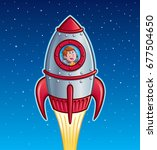 rocket ship boy | Shutterstock .eps vector #677504650