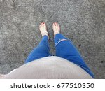 close up of bare feet with red... | Shutterstock . vector #677510350