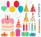 birthday party collection in... | Shutterstock .eps vector #677520973