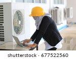 muslim women engineering design ... | Shutterstock . vector #677522560