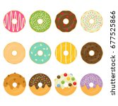 dough nuts   donuts collection... | Shutterstock .eps vector #677525866