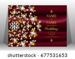 luxury wedding invitation card...   Shutterstock .eps vector #677531653