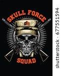 military skull design | Shutterstock .eps vector #677551594