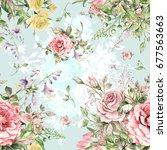 watercolor seamless pattern... | Shutterstock . vector #677563663