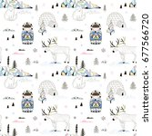 magic arctic decorative pattern | Shutterstock .eps vector #677566720