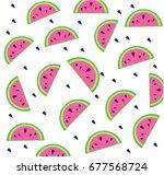 watermelon summer  pattern | Shutterstock .eps vector #677568724